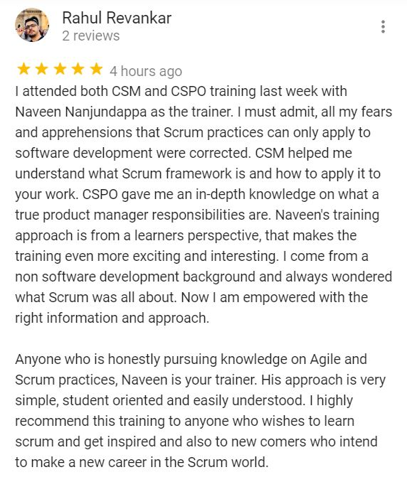 CSPO Training Certification Review Best Naveen Nanjundappa