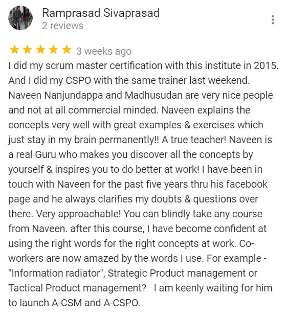 Certified Scrum Product Owner Review Naveen Nanjundappa